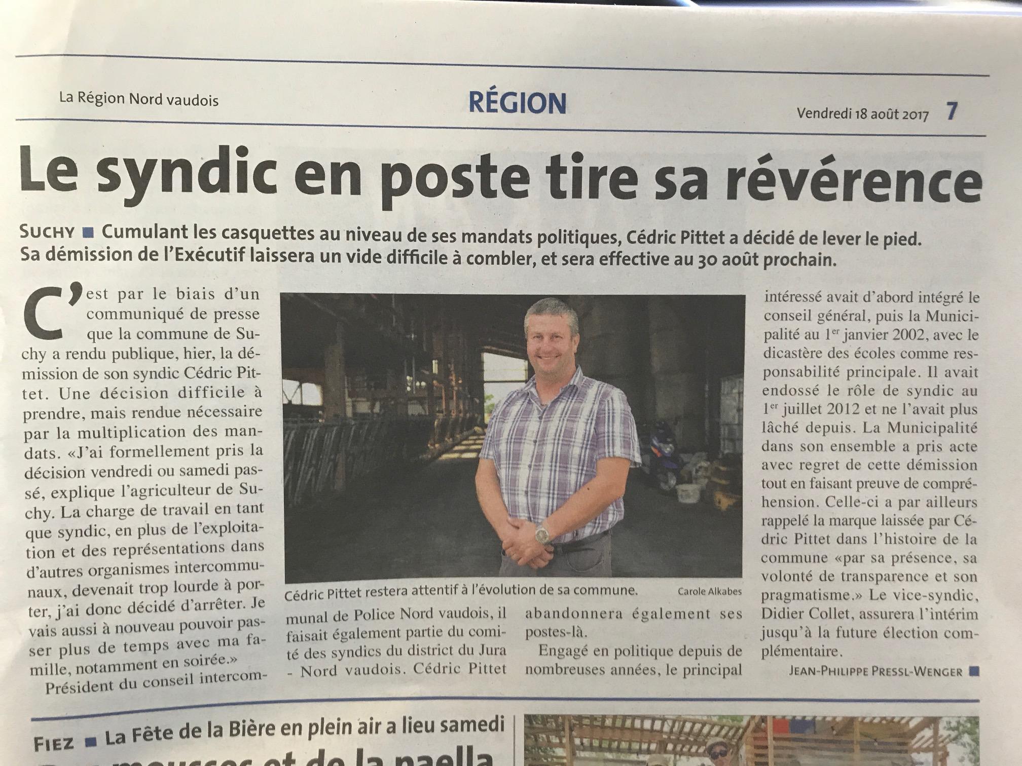 La Région, 18 août 2017